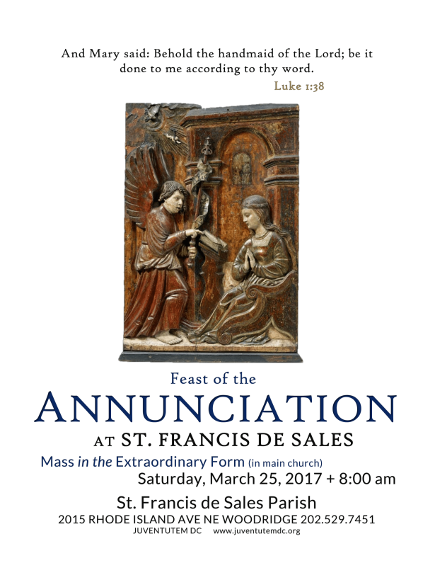 St Francis de Sales Sunday ANNUNCIATION March 25 2017-1
